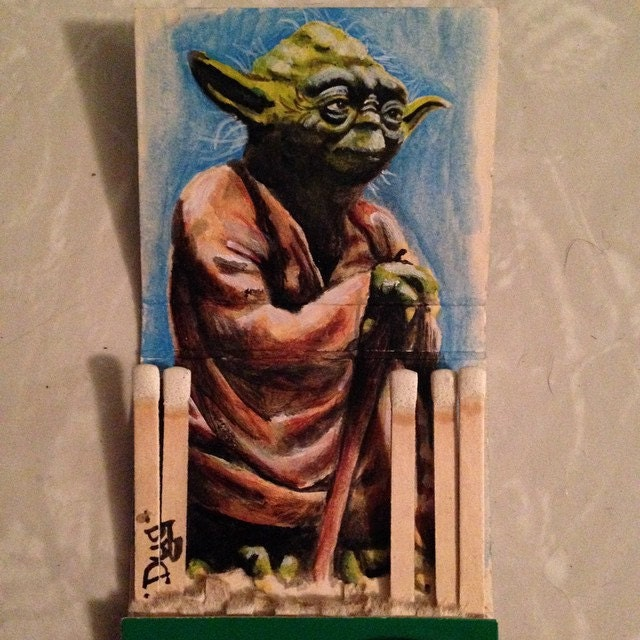When 900 years old, you are.  1.5x 3.3 acrylic on vintage matchbook