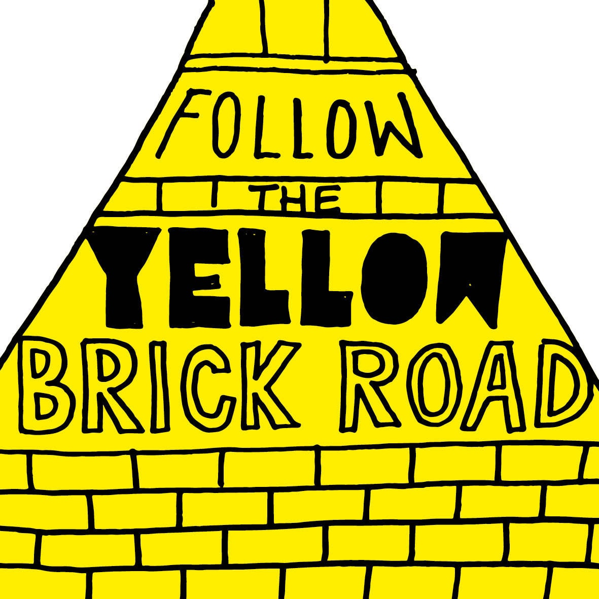 Hand lettering yellow brick road