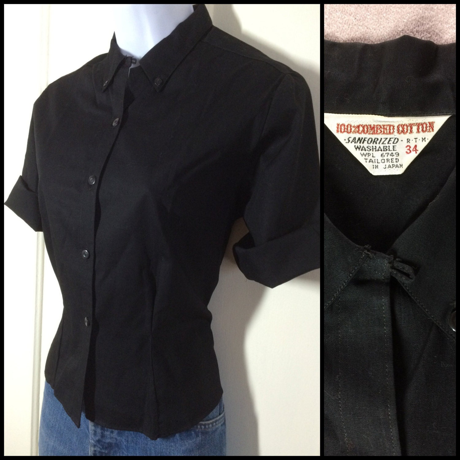 1950s black tailored rockabilly blouse with loop and button down collar