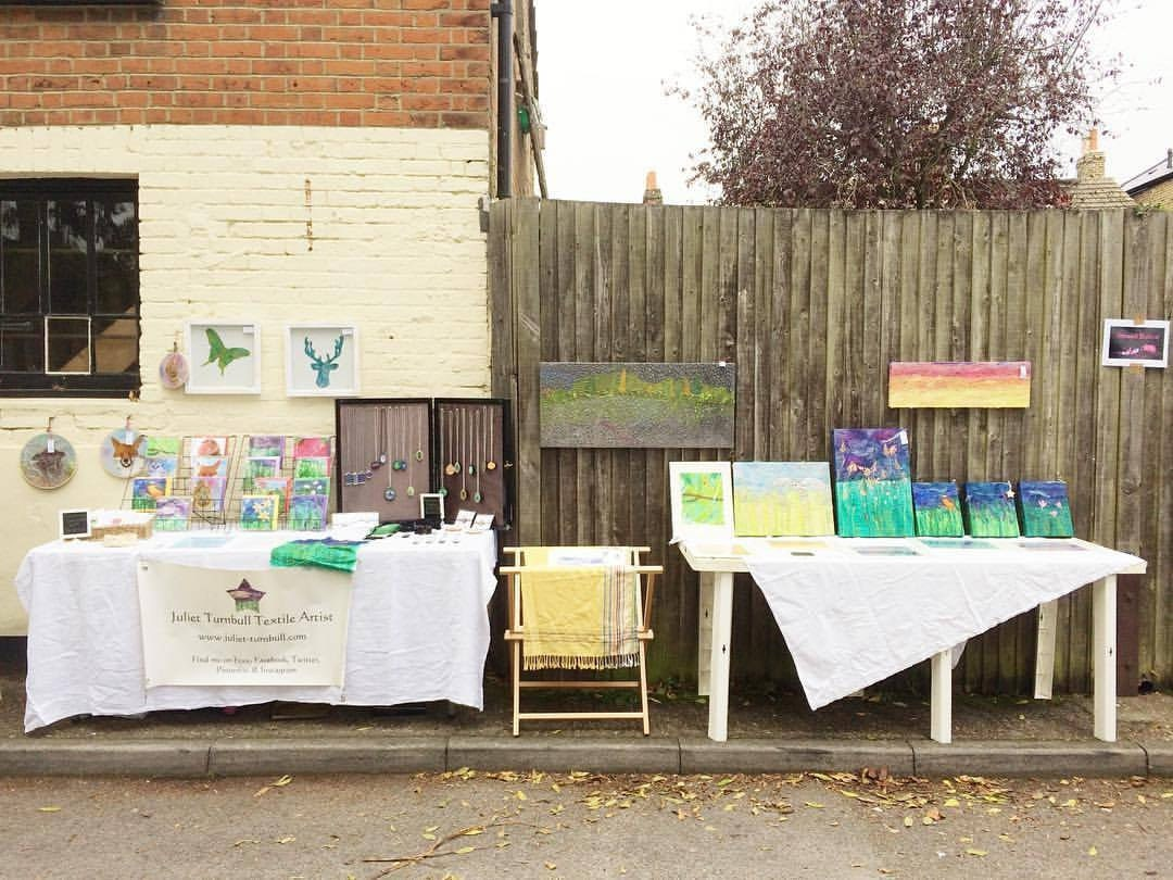 Photograph of my stand at the September market before trading started at 9am