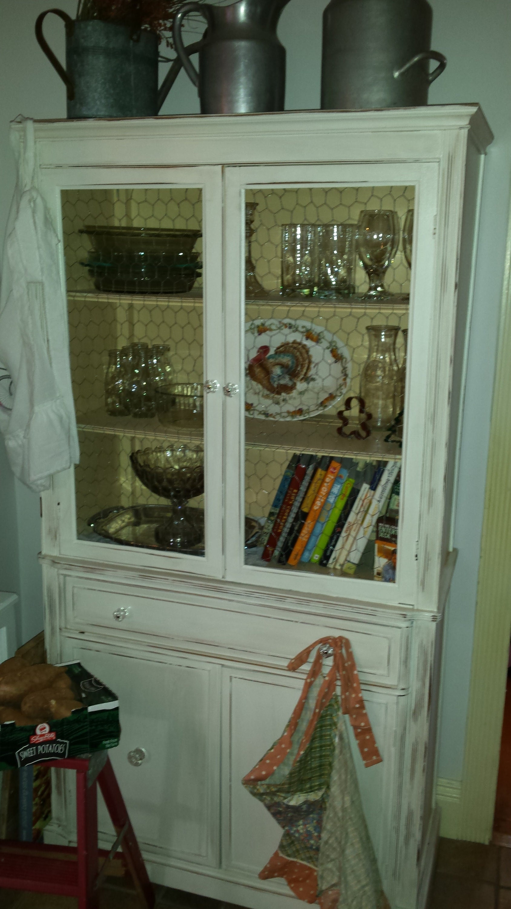 vintage painted shabby chic china cabinet, rustic, farmhouse, country, chicken wire, beach cottage storage breakfront, hutch