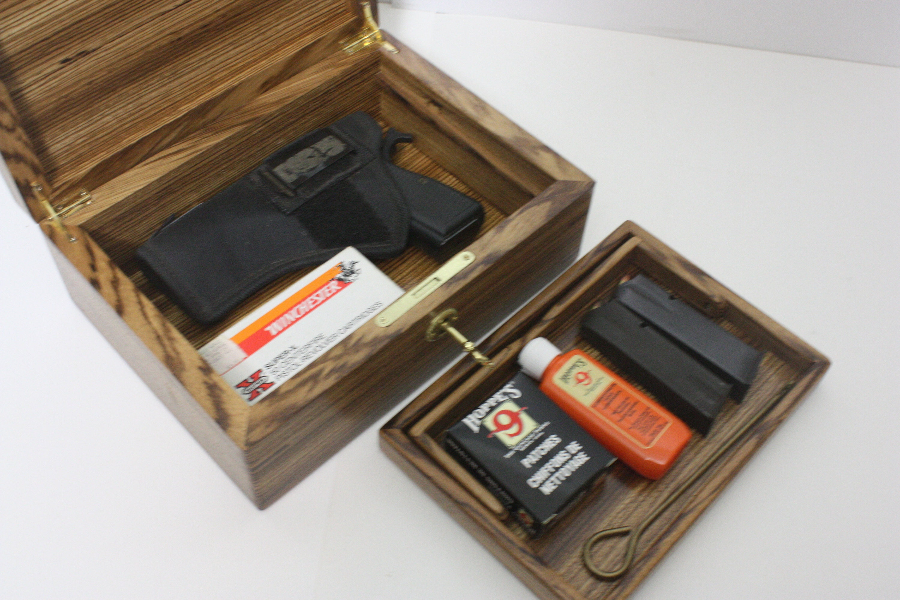 Zebrawood Locking Pistol, Gun Box