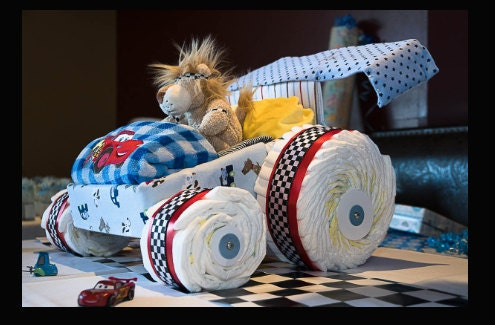Racing car diaper cake, McQueen diaper cake