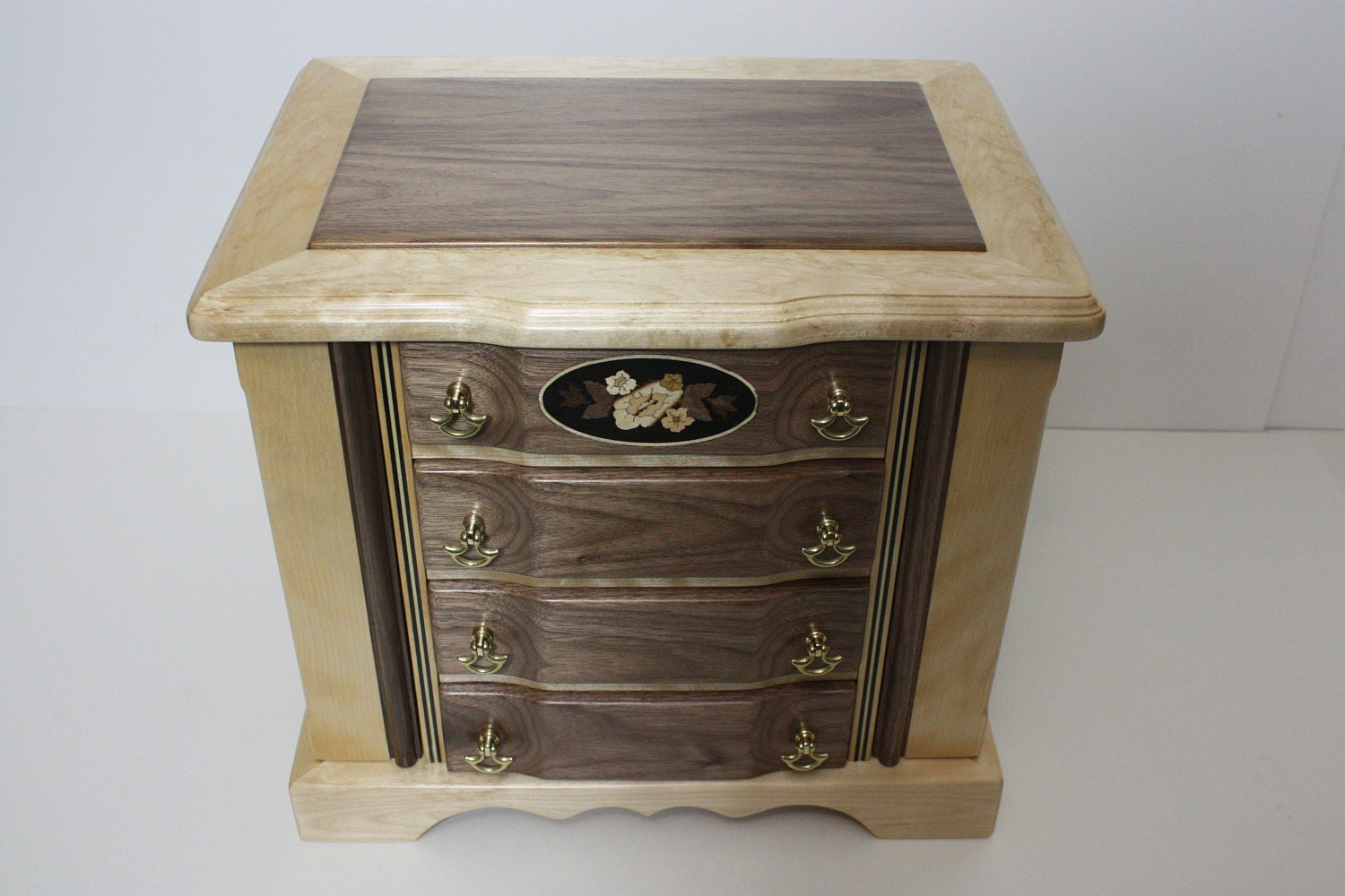 Handmade Jewelry Box with Drawers and Swing Out Sides
