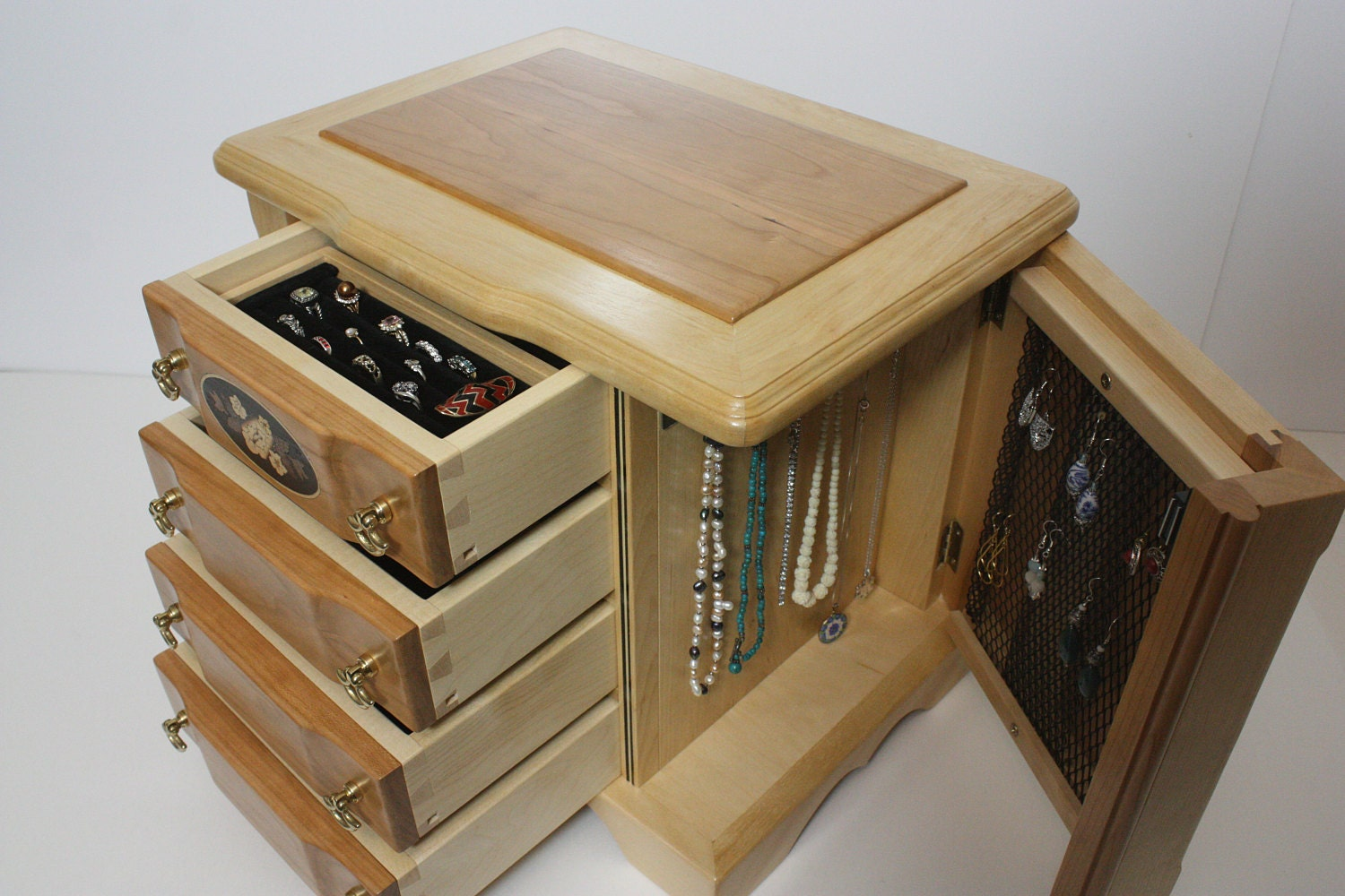 Handmade Large 4 Drawer Jewelry Box with Swing Out Sides For Sale