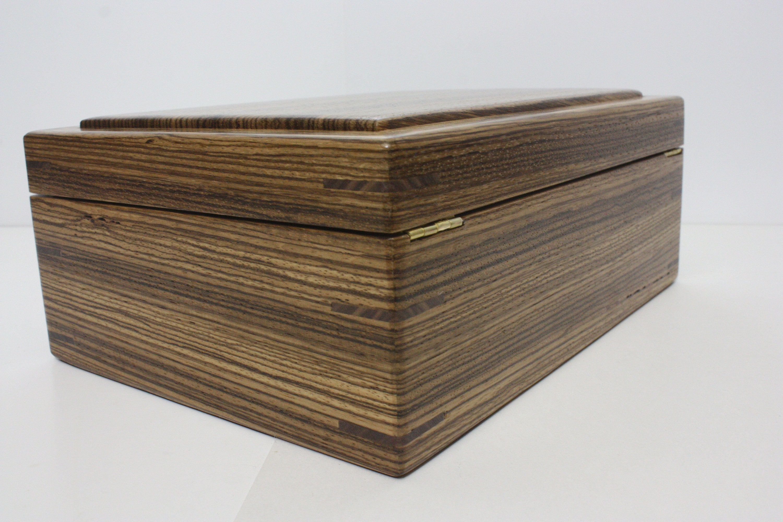 Zebrawood Box with Quadrant Hinges