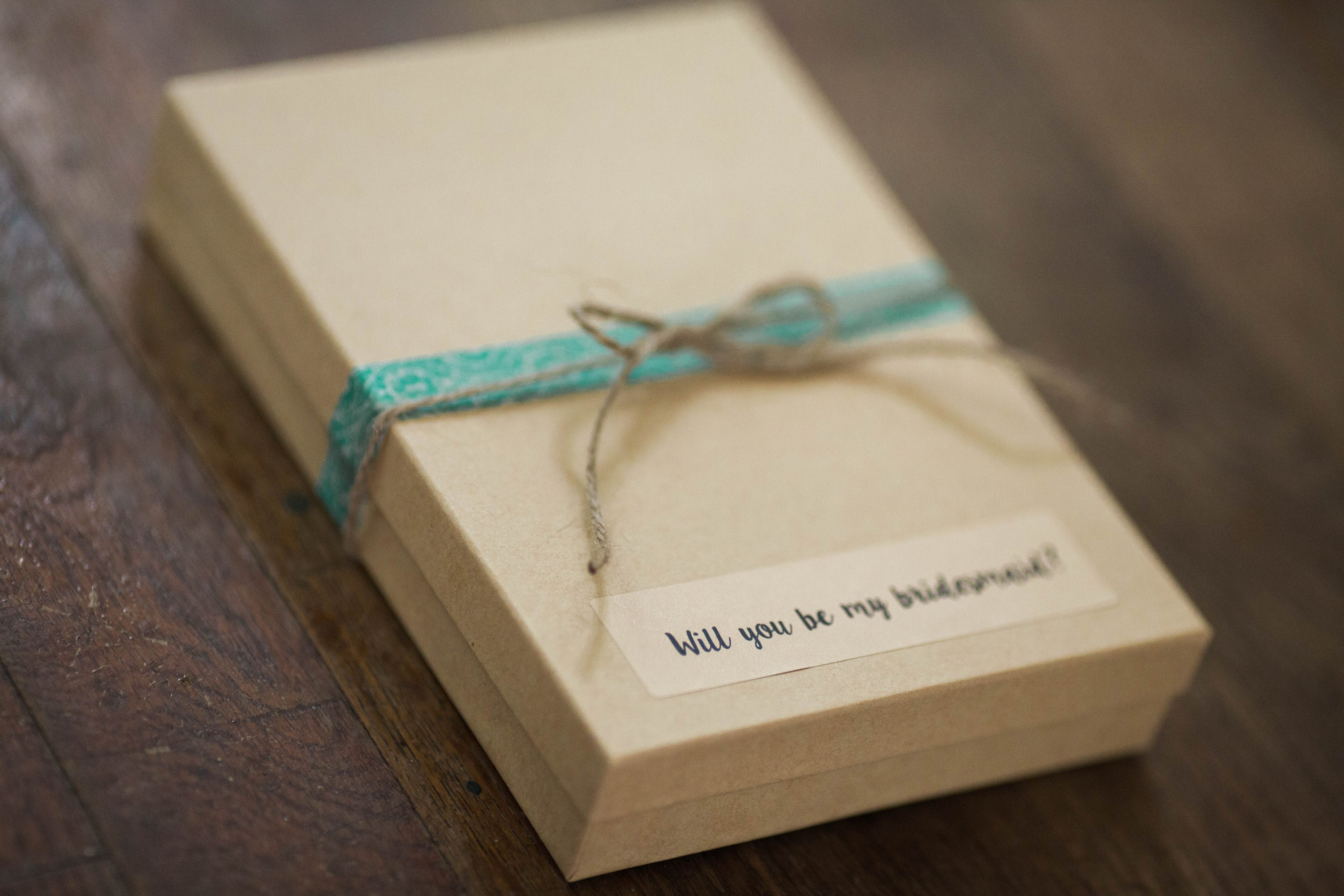 will you be my bridesmaid, bridesmaid gift, wedding announcement, kraft boxes, custom stickers, rustic wedding, organic wedding, mint wedding