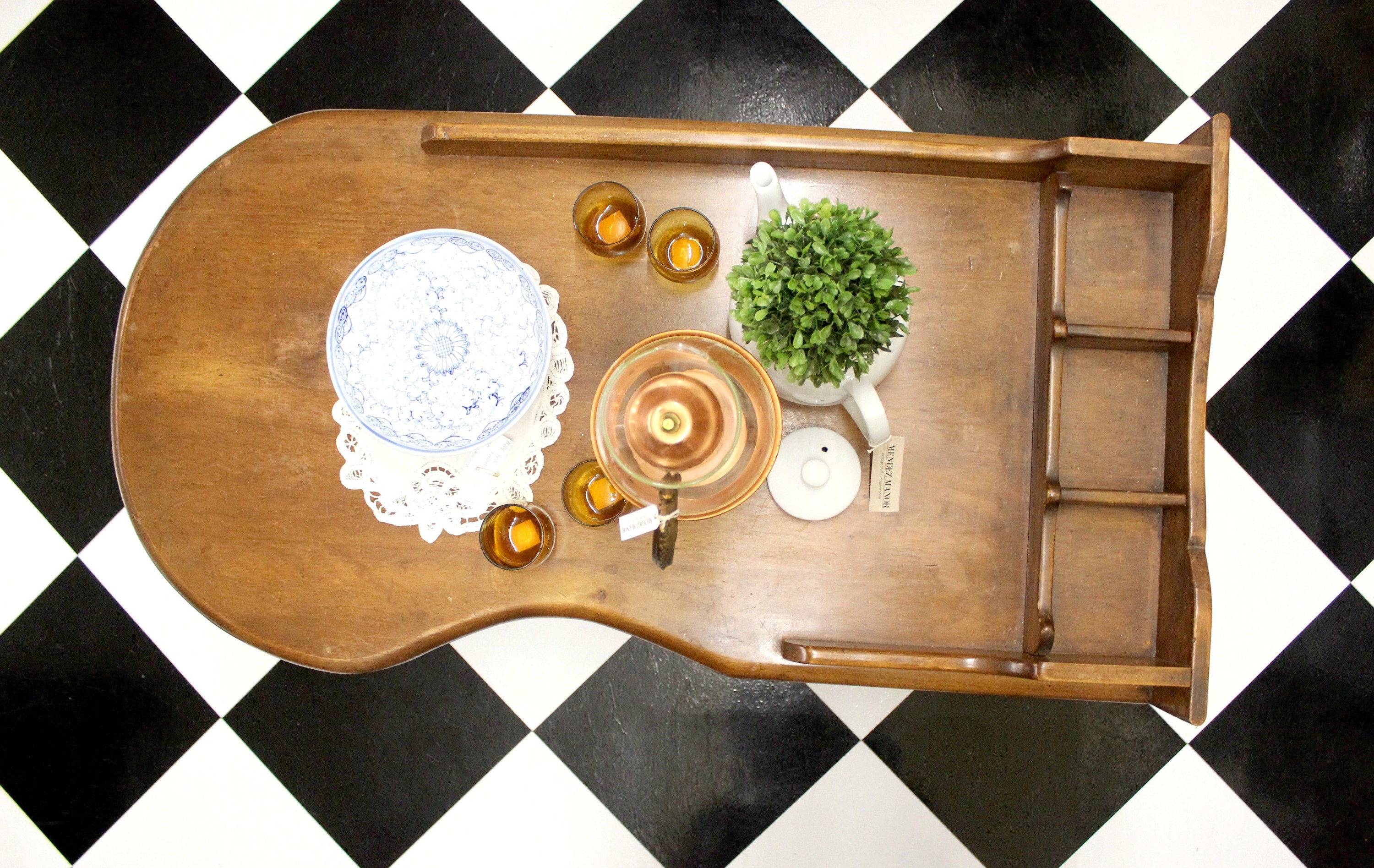 bohemian style wood coffee table via mendez manor