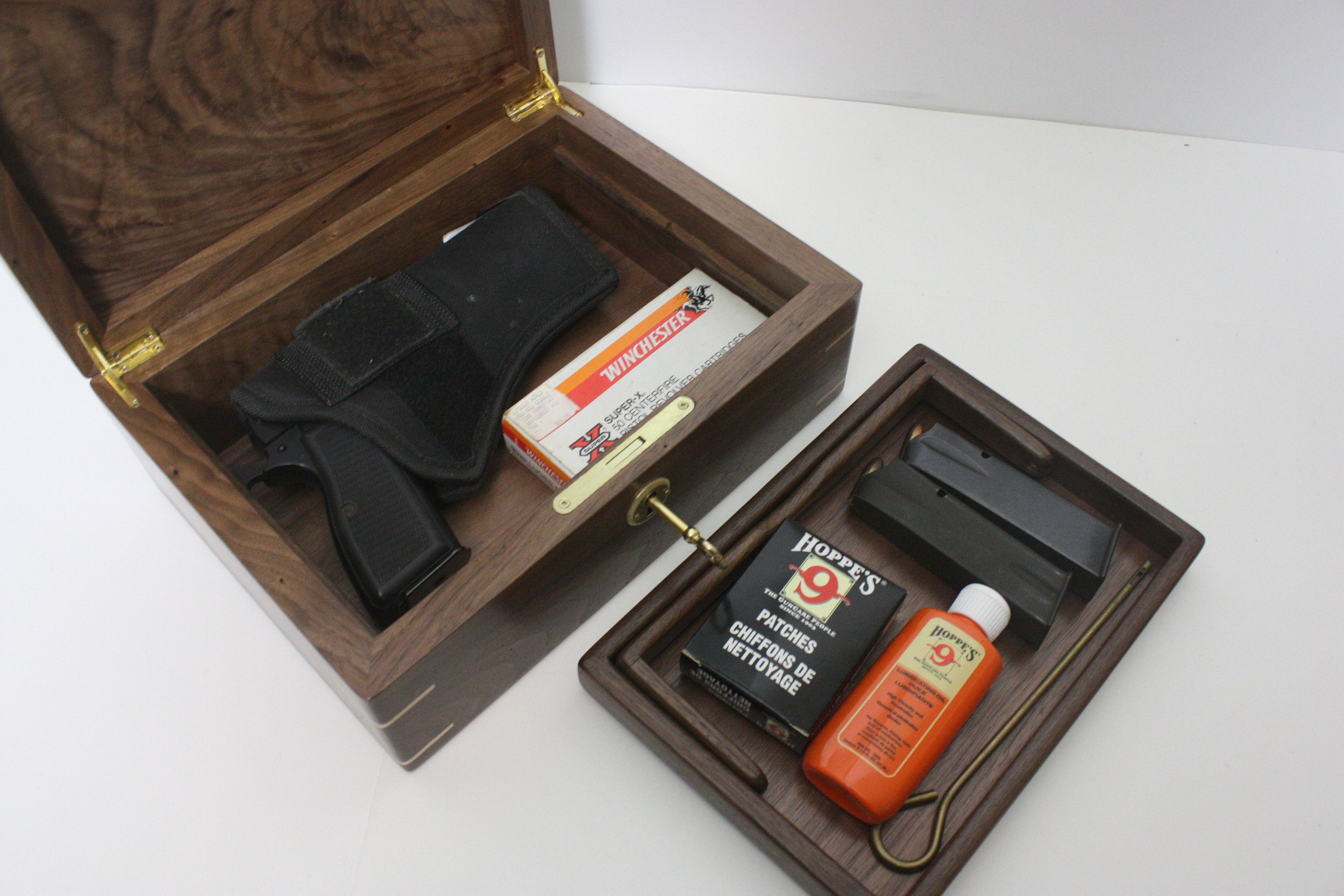 Locking Walnut Gun Box