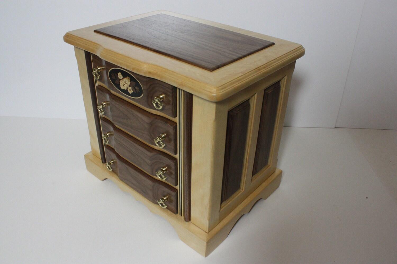 Handmade Birch with Black Walnut Large Jewelry Box