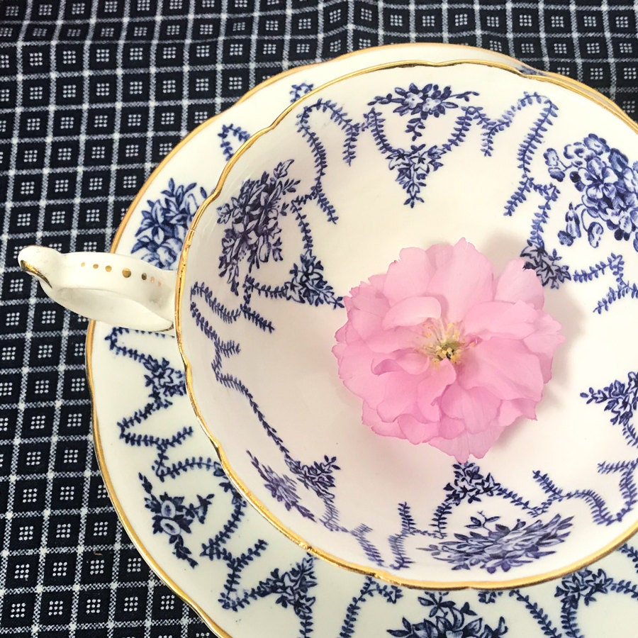 Blue and White Coalport Teacup and Saucer