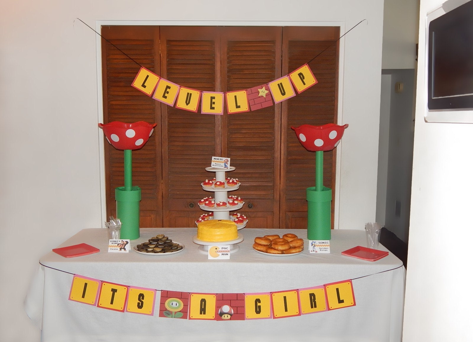 video game shower dessert table