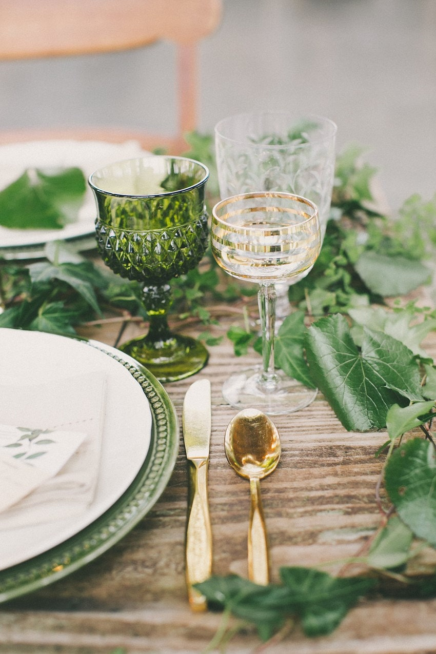 green colored glass table setting