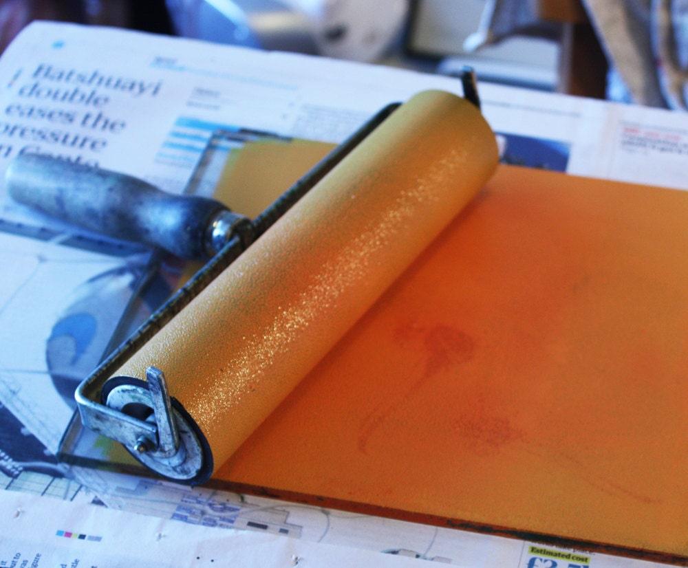 orange ink, roller