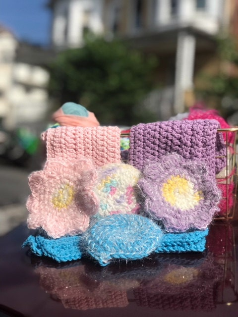 100% cotton dishcloth and matching scrubby
