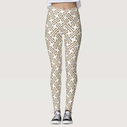 Perfect fall leggings in Japanese pattern of tan and white!