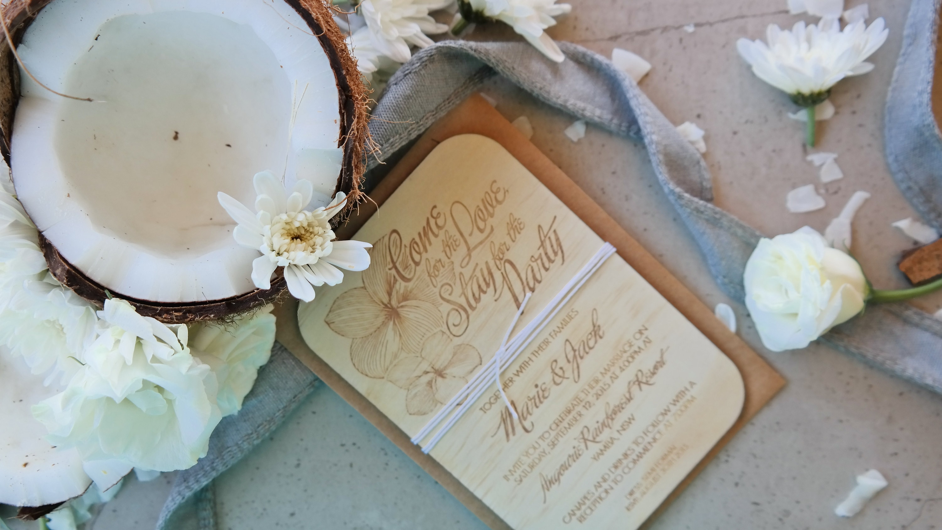 Frangipani coastal wedding invitation