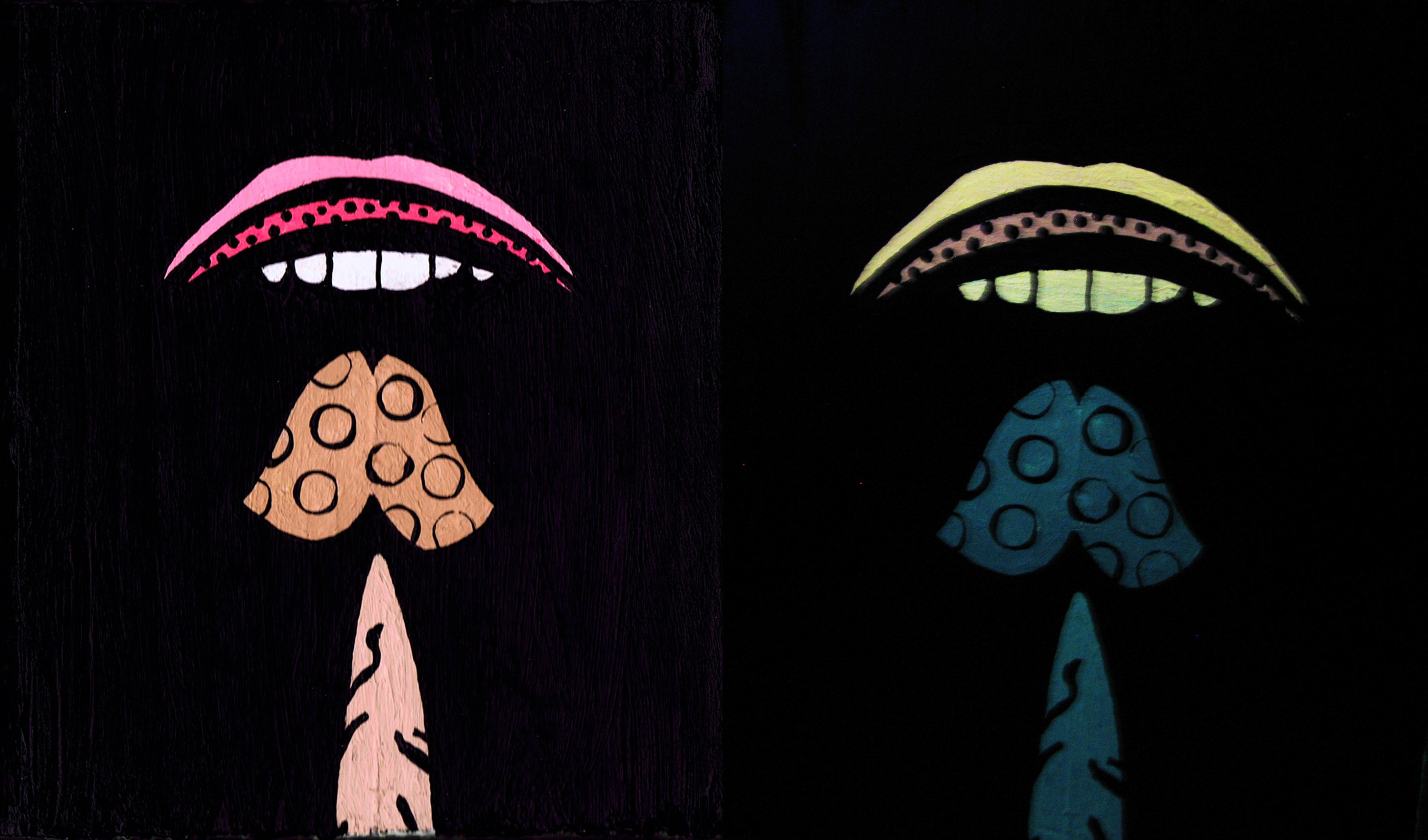 Tasting Mushrooms by CRD Larson under normal light (right) and black light (left)