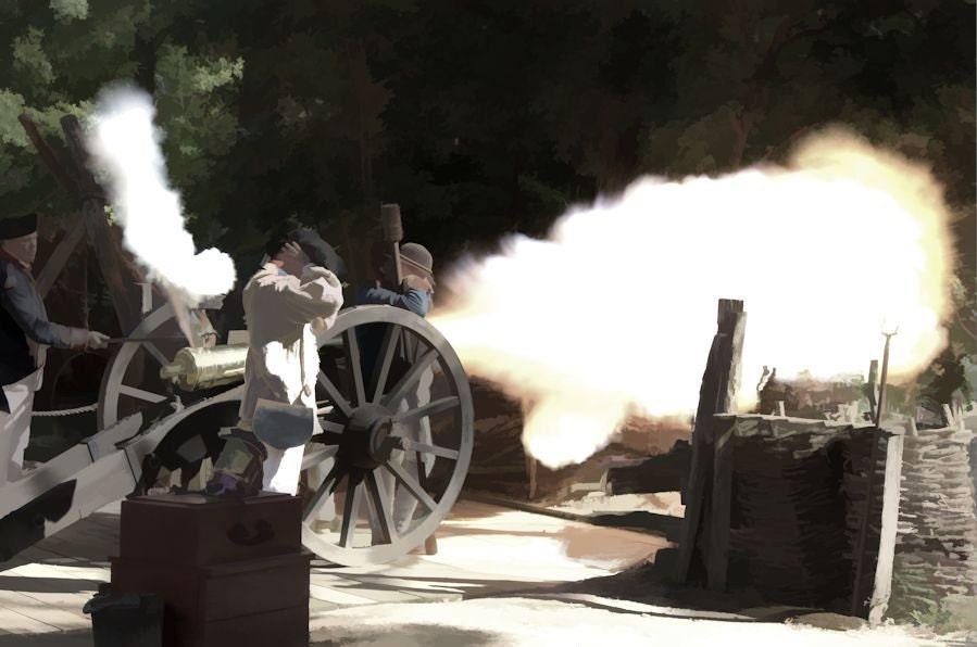 Canon firing at Yorktown, Virginia