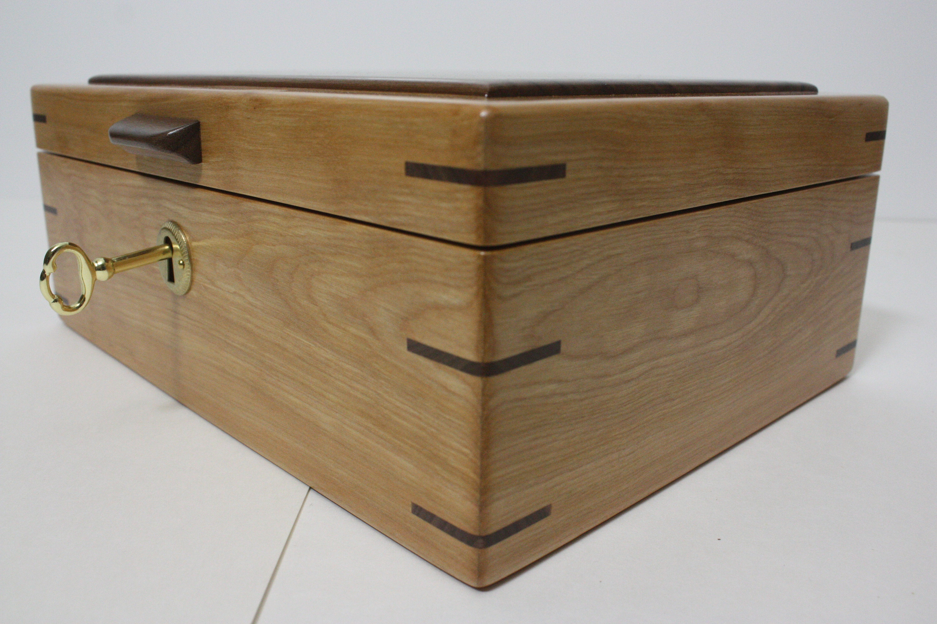 Locking Red Birch and Walnut Wood Box For Sale