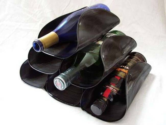 old vinyl lp into wine rack