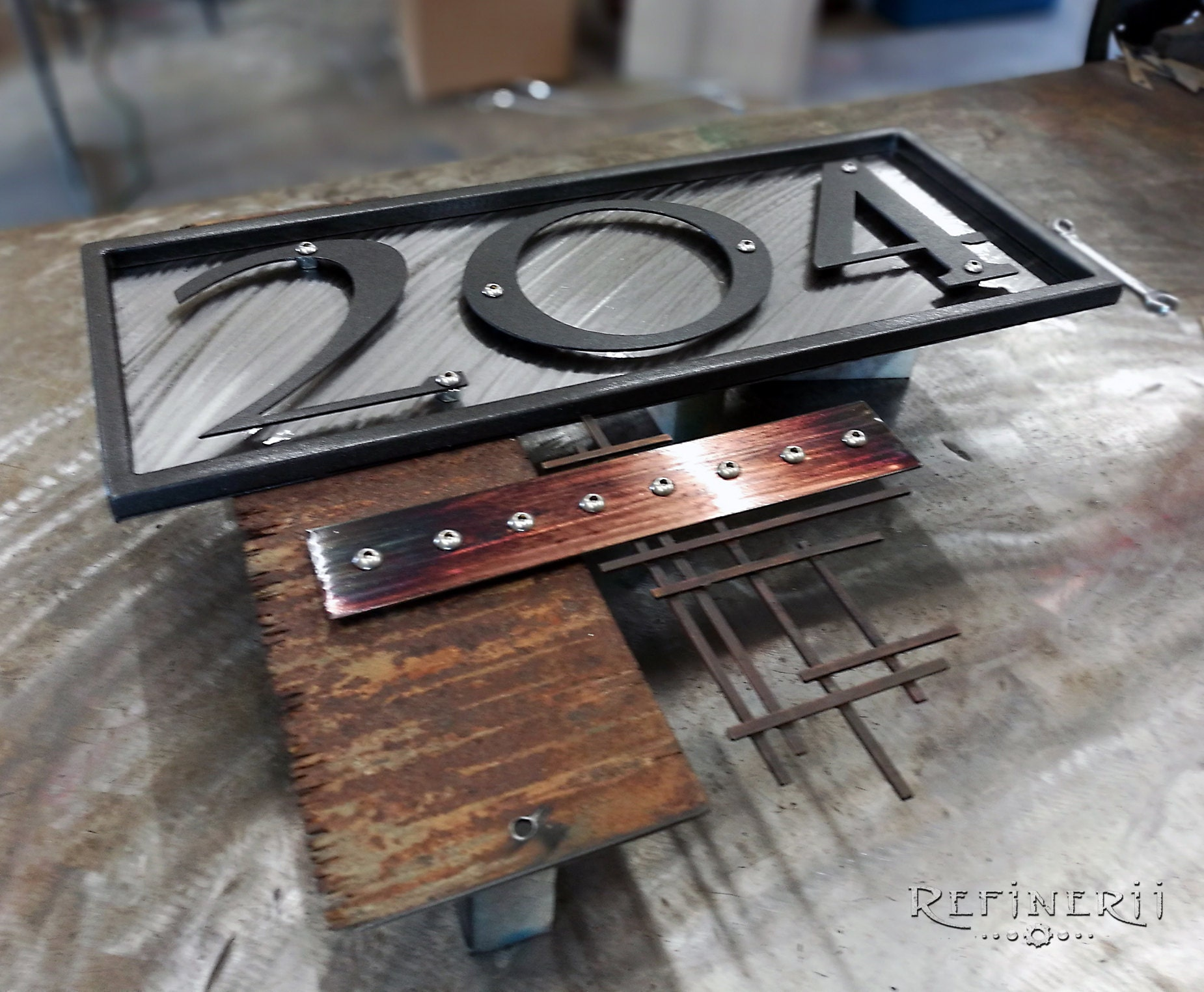 custom metal house number plate