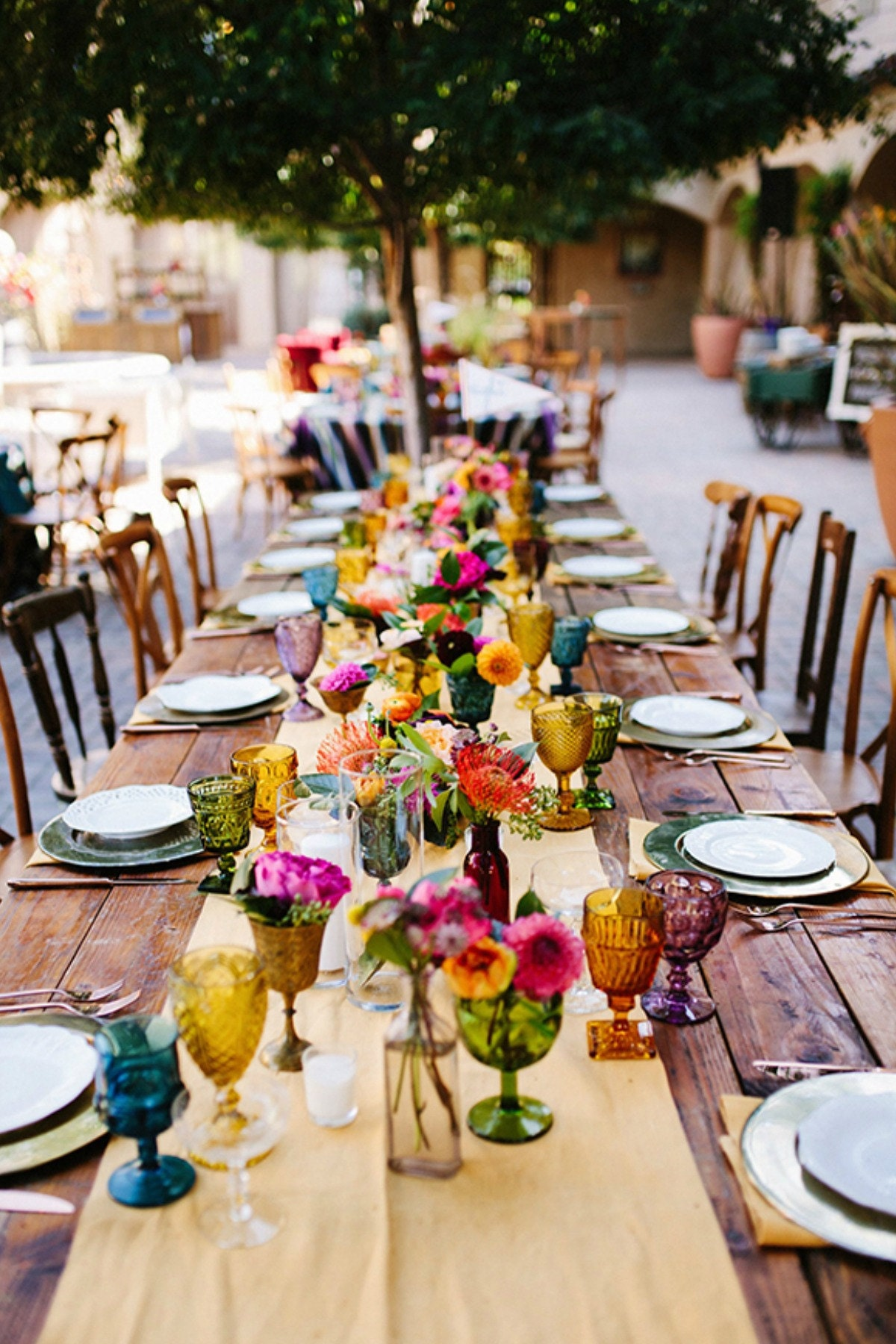 colored glasses table setting