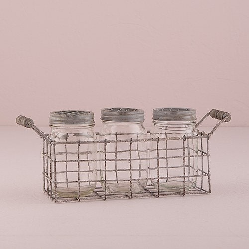 vintage Look mason jars with grid lids and wire basket