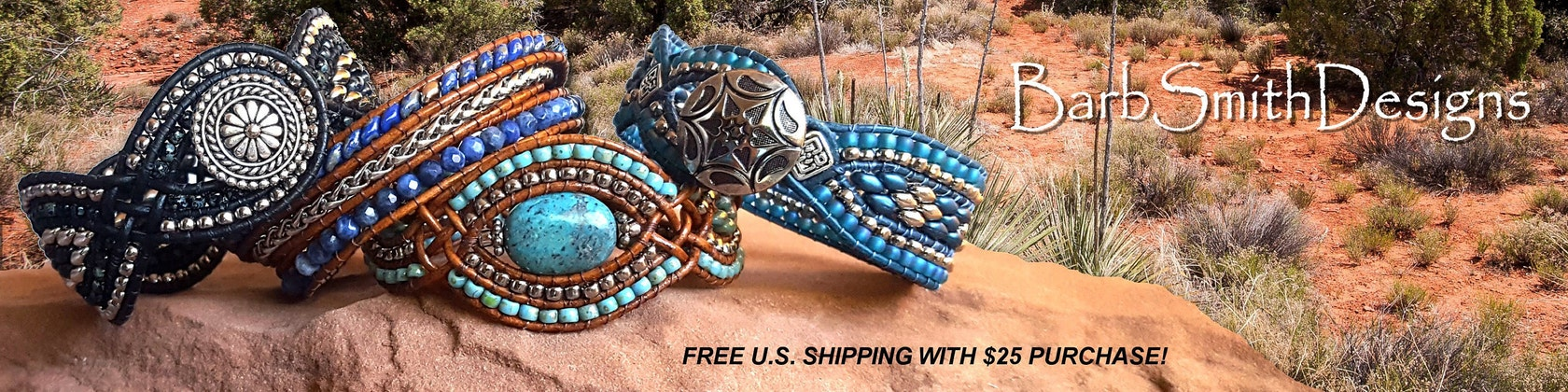 Beaded Leather Bracelets in Custom Sizes por BarbSmithDesigns