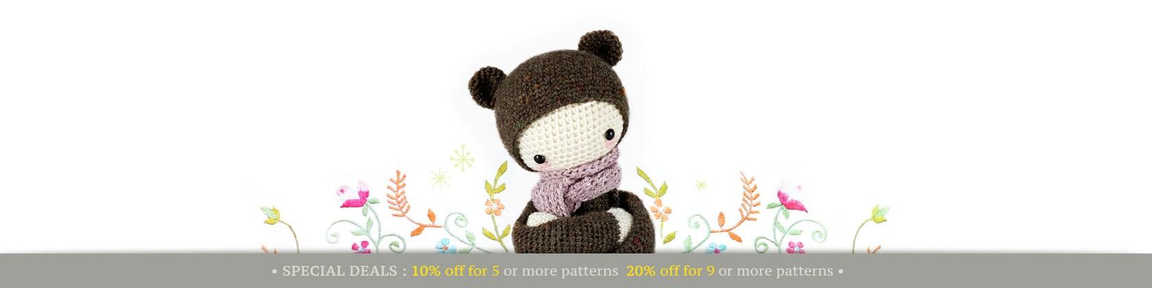 Crochet patterns for handmade dolls by lalylala on Etsy