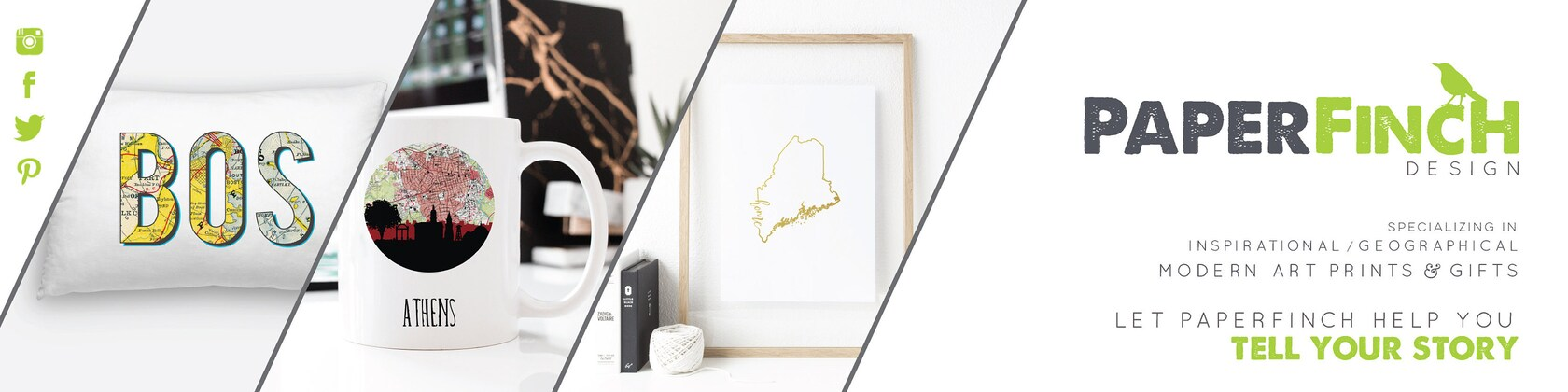 Geography art and wanderlust decor for the von PaperFinchDesign