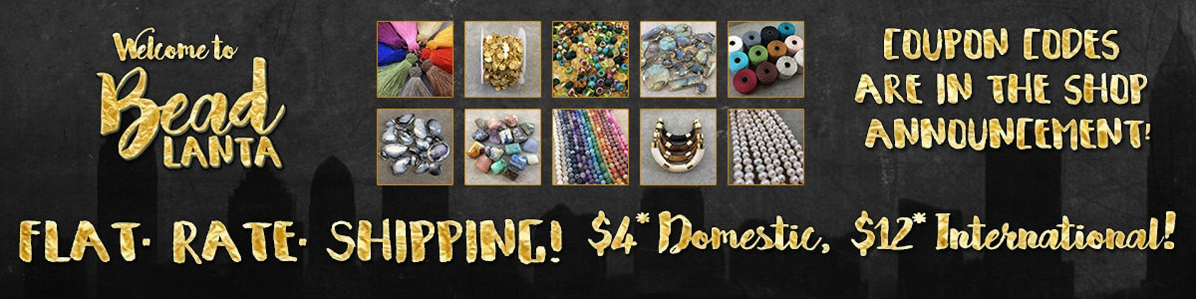 Flat rate shipping coupons in shop announcement by beadlanta beadlanta fandeluxe Image collections
