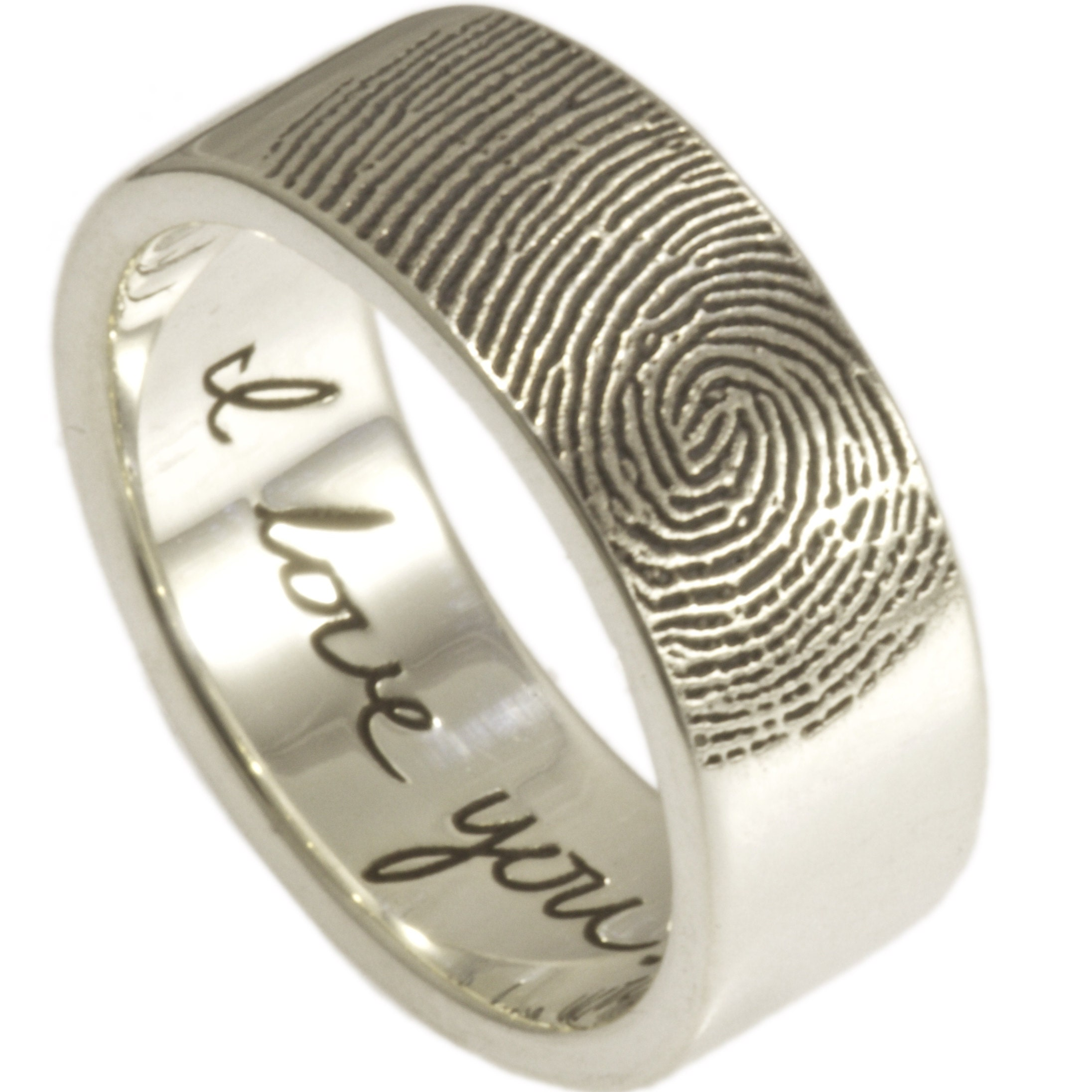 fingerprint rings engagement side product ringcraft ring band moana wedding