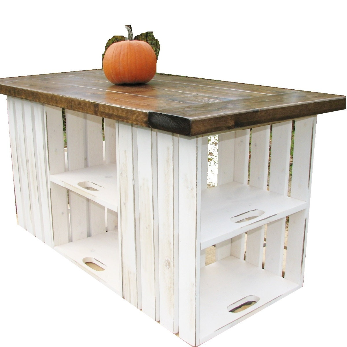 Kitchen Island Farmhouse Distressed Carved Rustic