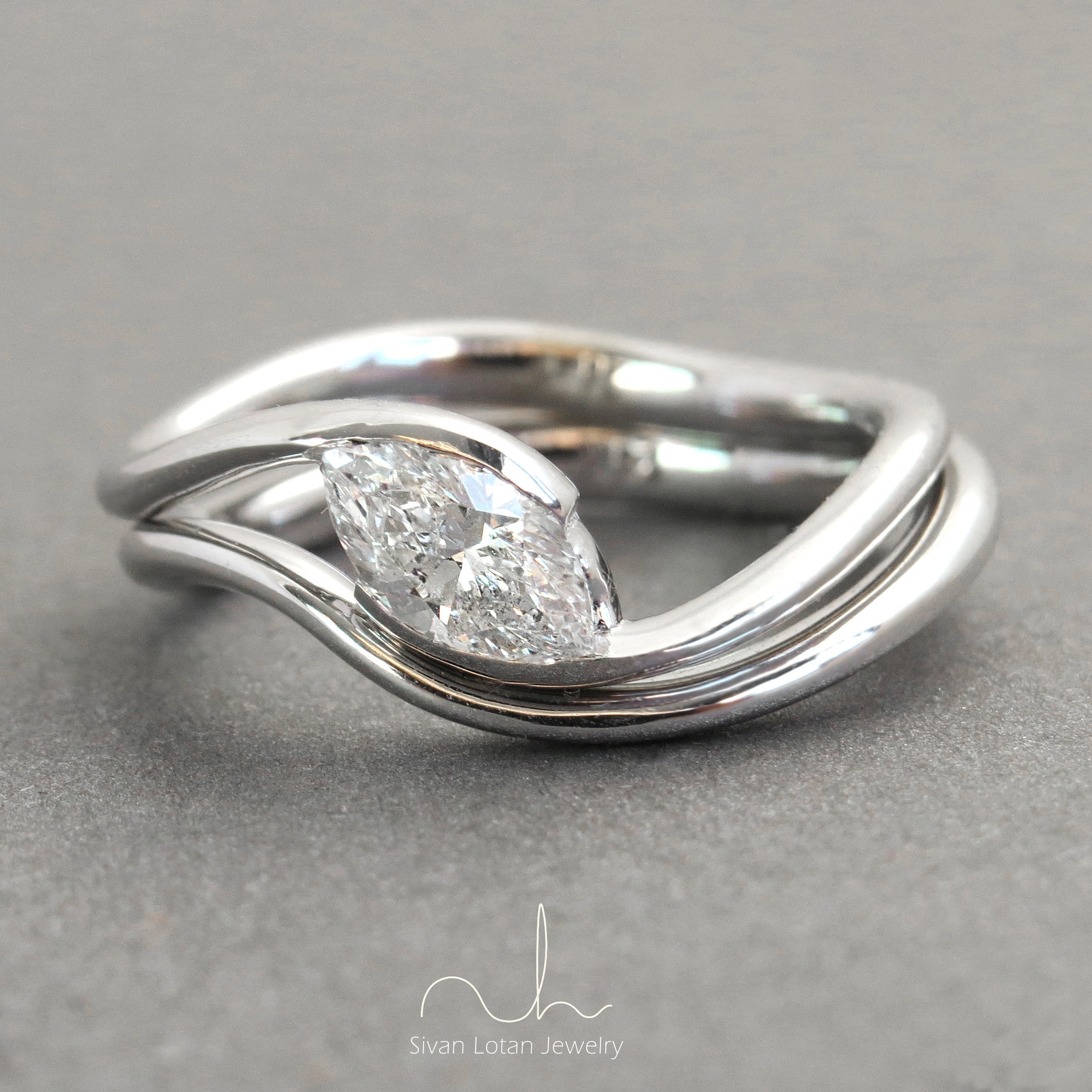 mobius wedding hand ravensrefuge rings bezel diamond on zibbet platinum forged engagement by ring