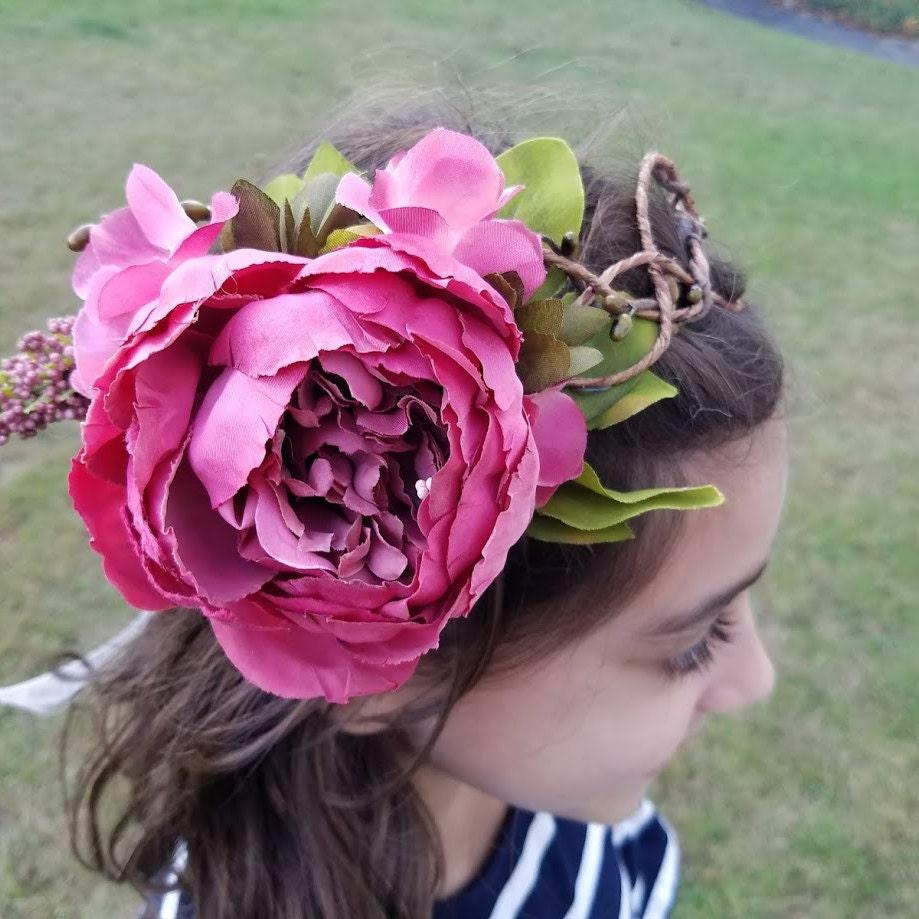 Woodland Fairy Crown Pale Pink Organza Ribbon Flower Crown