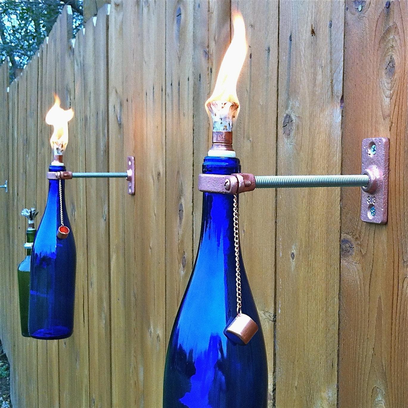 tiki lighting. 1 Cobalt Blue Wine Bottle Tiki Torch - Spring Outdoor Lighting Hanging Lantern Gift For Women
