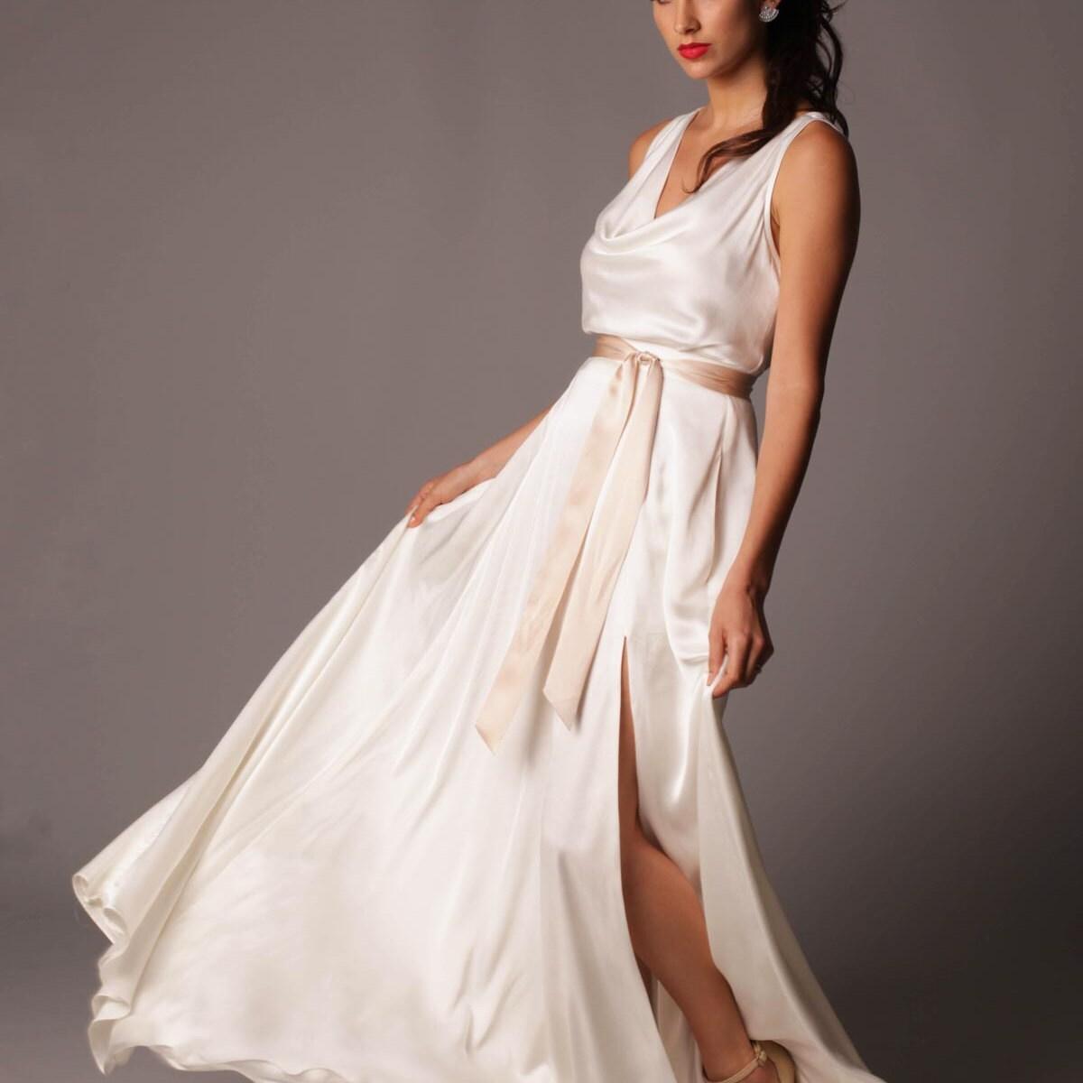 Seide Twill Brautkleid mit Schlüsselloch Mieder und schneiden