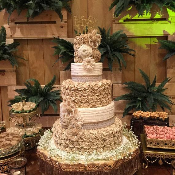 Rustic Barn Wedding Cakes: Rustic Wedding Cake Burlap Flower Farmhouse Southern Barn