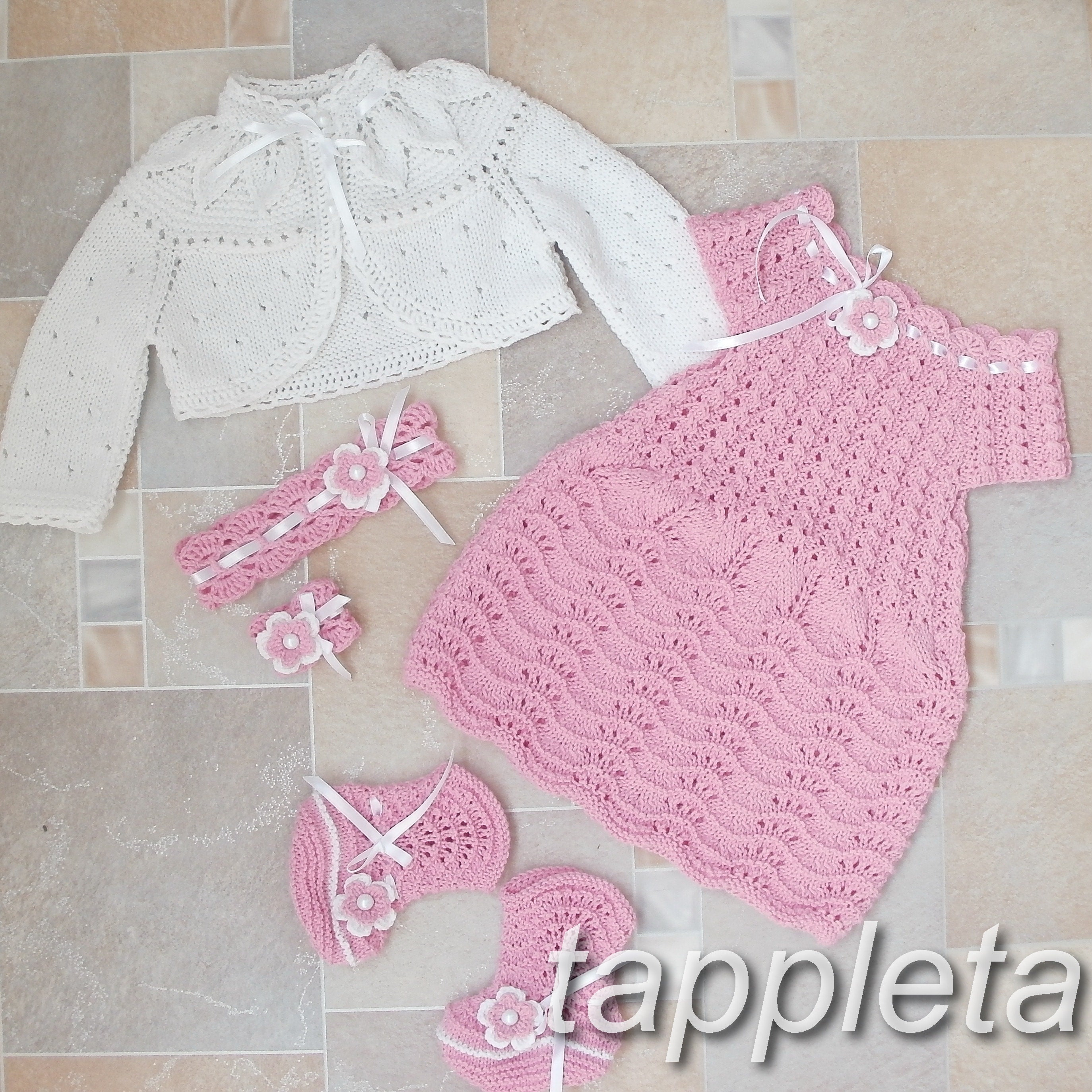 baptism clothes baby knitted dress booties hat shoes by tappleta