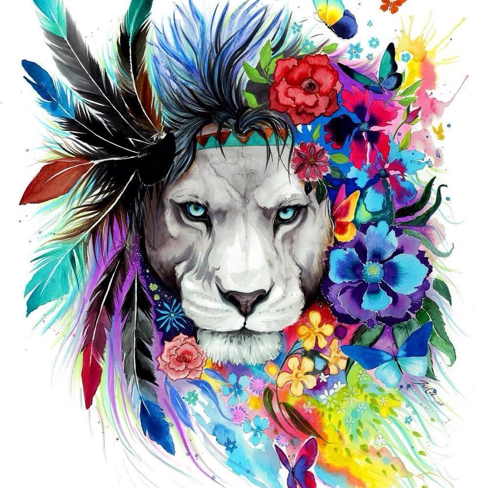 Fine art prints of colorful rainbow animals and von PixieColdArt
