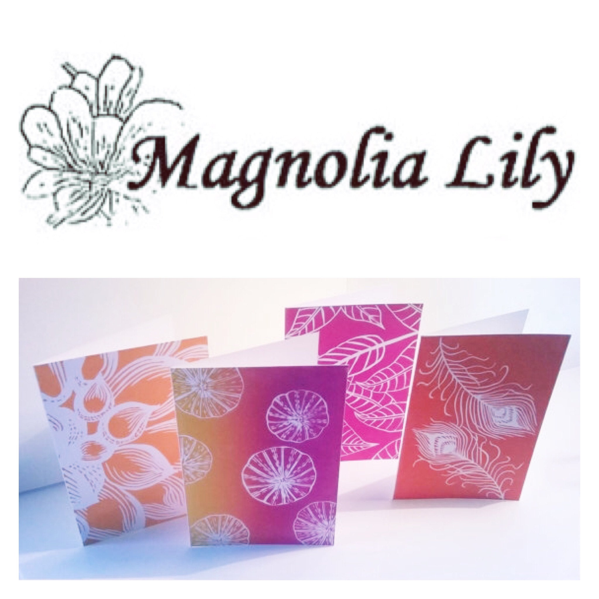 Handmade greeting cards linocut print fine art por MagnoliaLily