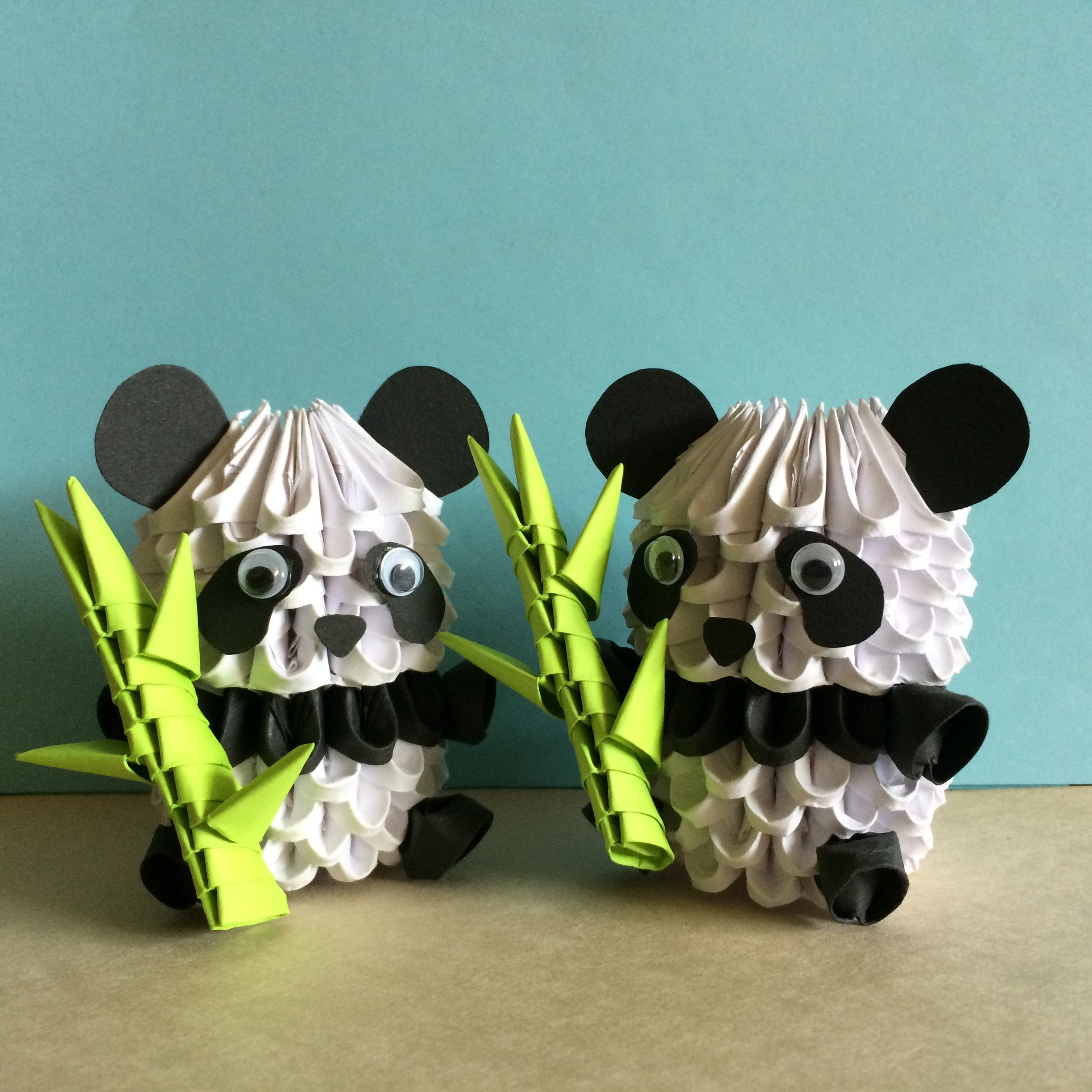 Adorable 3d origami panda with bamboo shoot or valentine 3d request a custom order and have something made just for you jeuxipadfo Choice Image