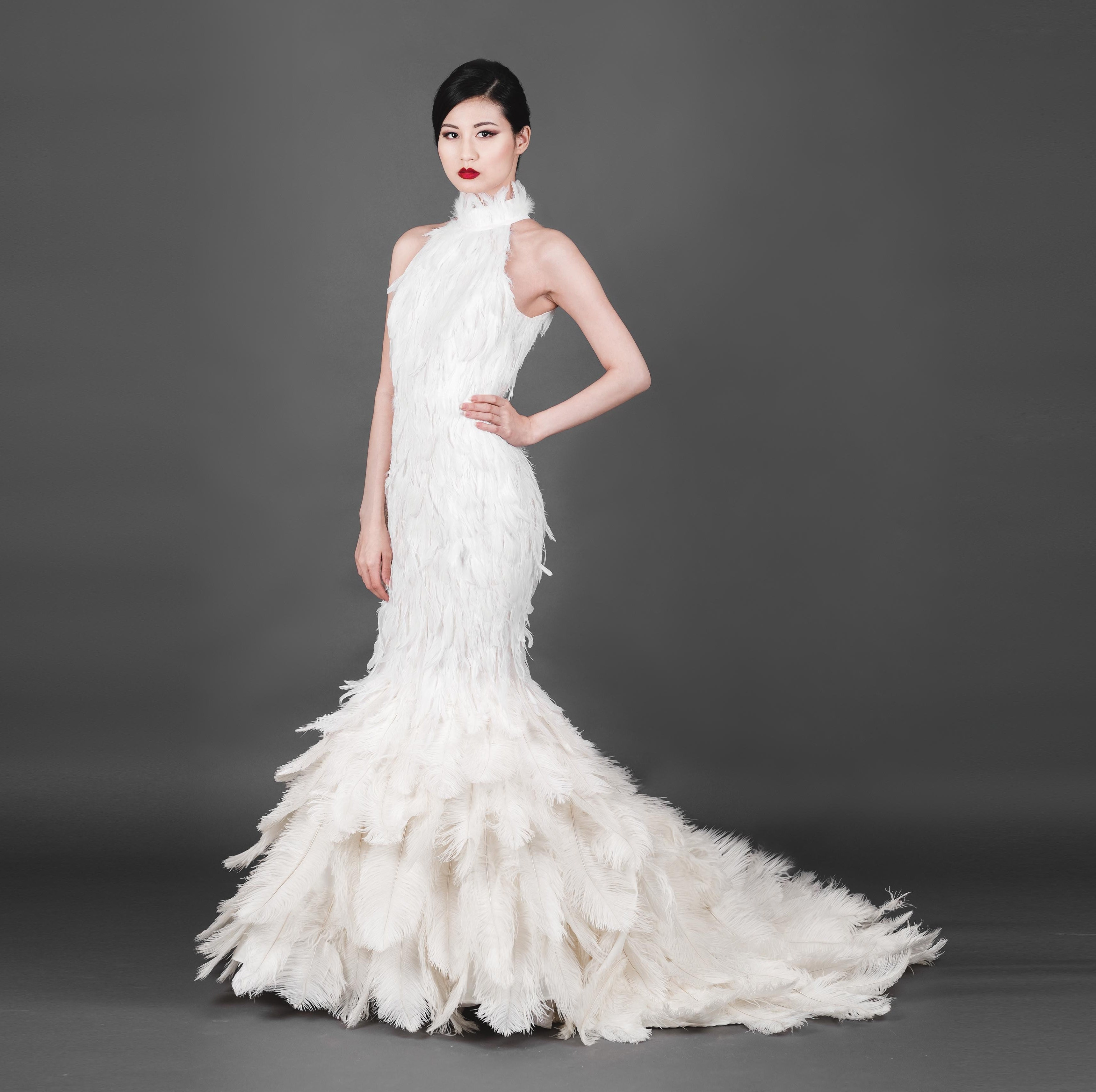 Peacock Feather Couture Strapless Wedding Dress high low hem