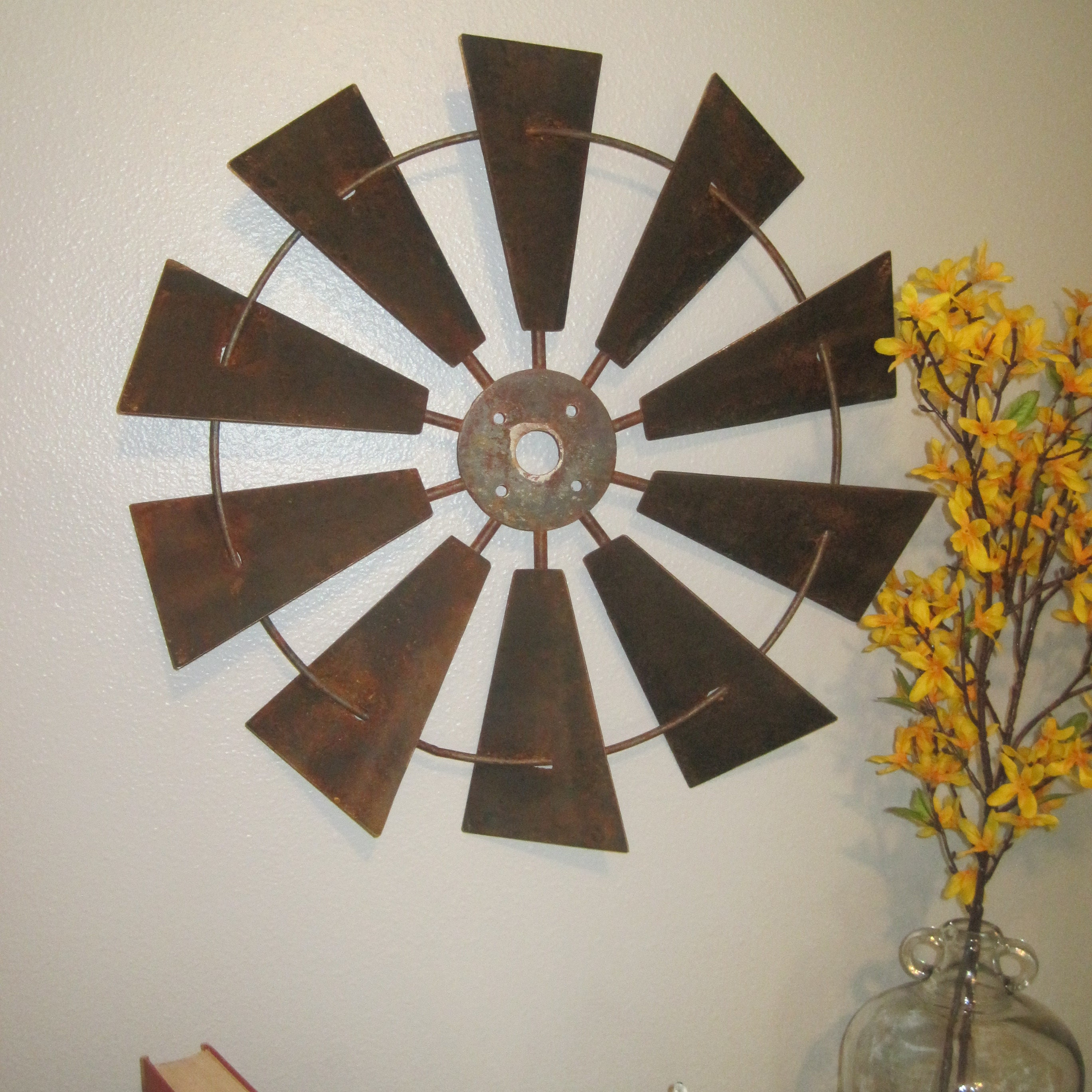 18 Inch Galvanize Windmill Wall Decor Rustic Farmhouse