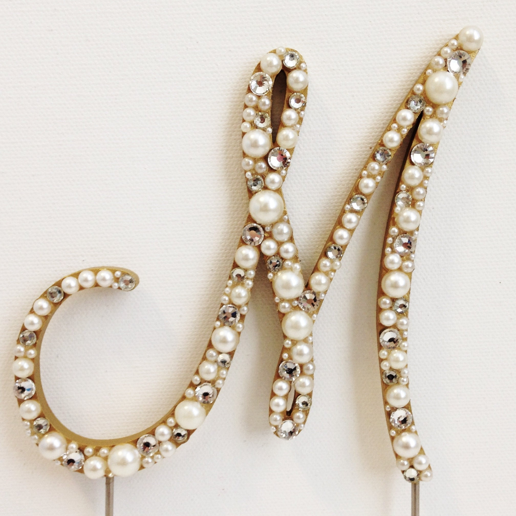 rose gold monogram wedding cake topper gold pearl monogram wedding cake topper 19280
