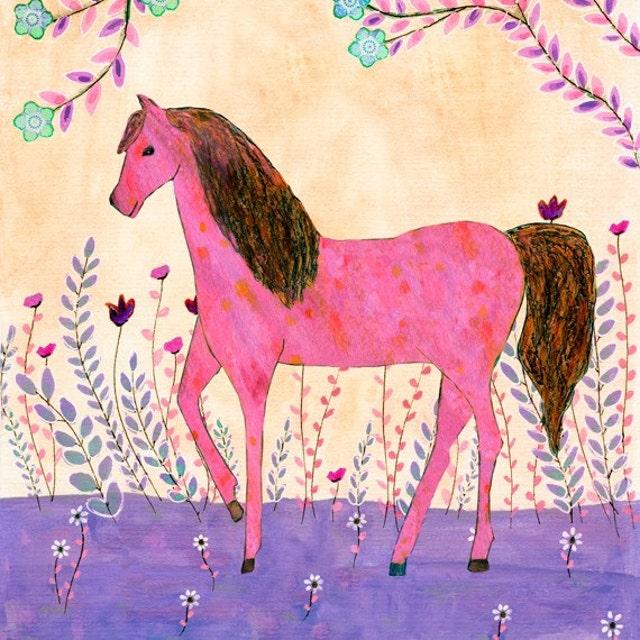 Whimsical Folk Art Painting and Prints Mixed Media Art by Sascalia
