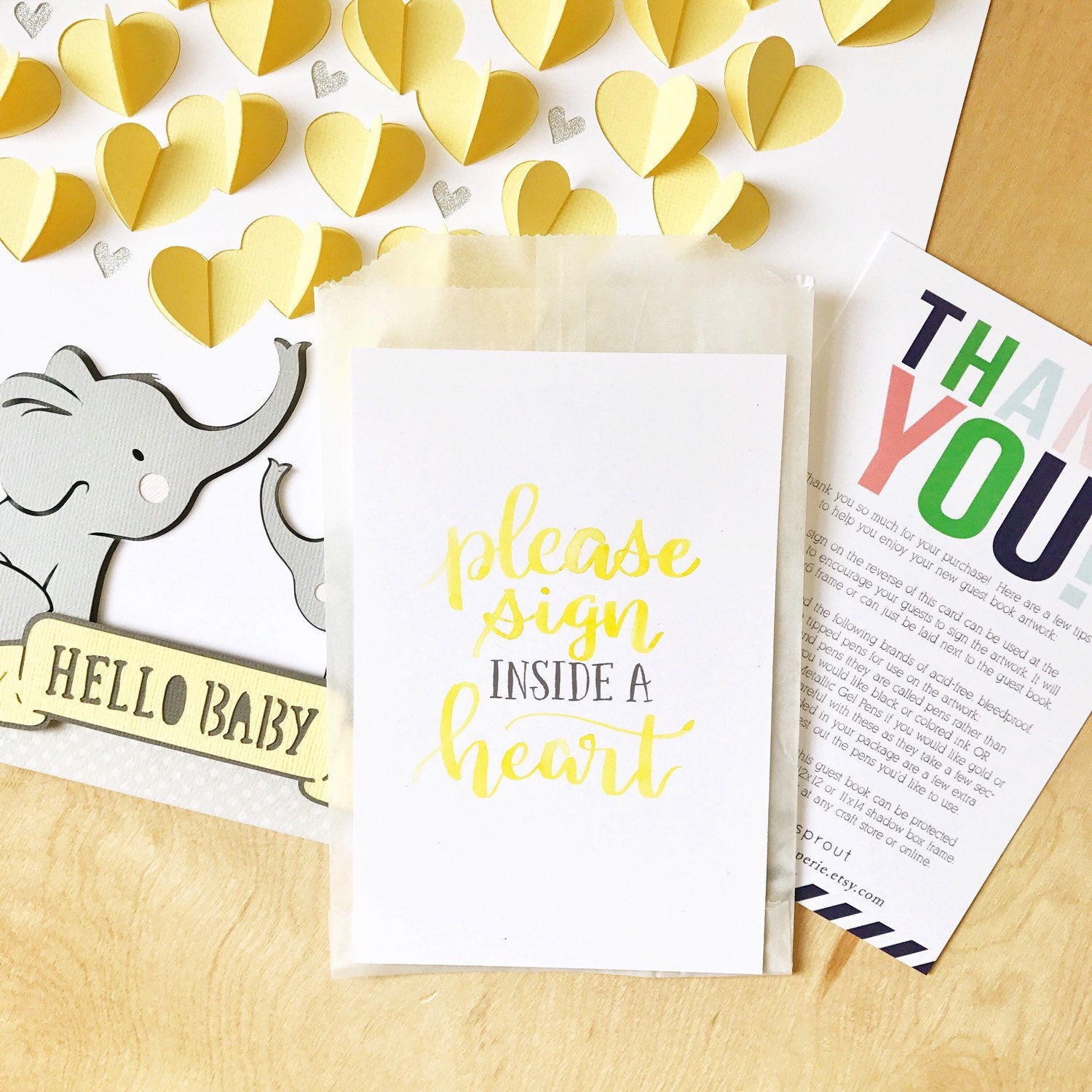Elephant baby shower guestbook gender neutral baby shower elephant baby shower guestbook gender neutral baby shower guest book custom color hello baby guest sign in 3d nursery art baby gift solutioingenieria Choice Image