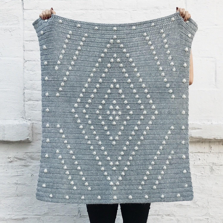 Crochet Pattern // Diamond Geometric Modern Bobble Stitch