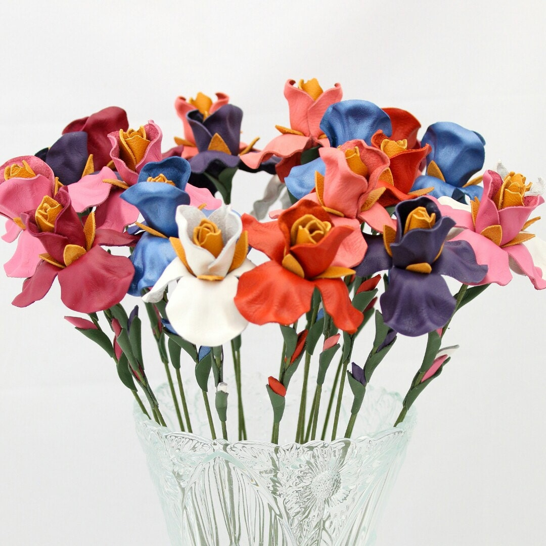 3 leather flower iris yellow spring Wedding Third Anniversary
